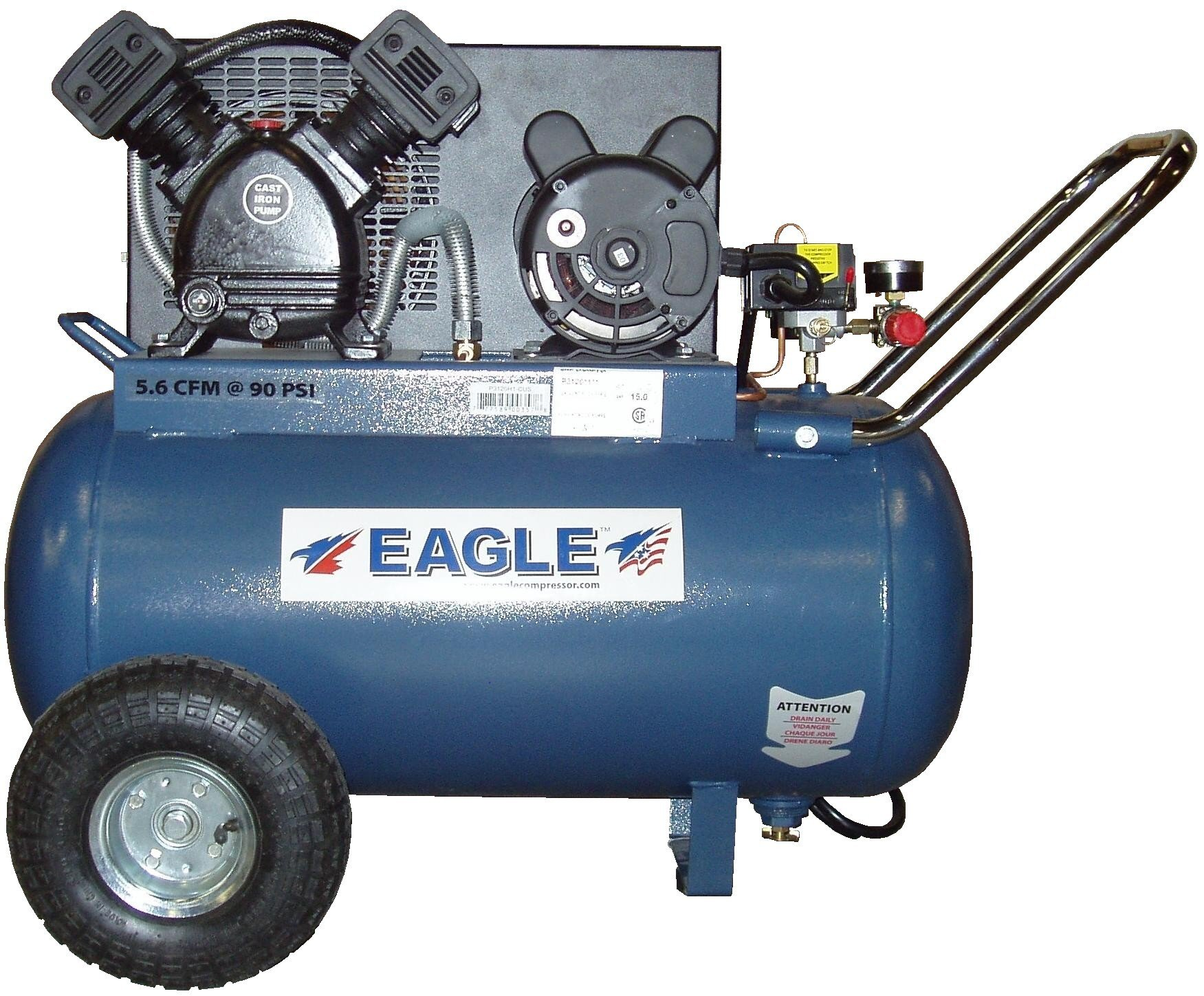 Eagle EA-5000 Silent Series 5000 Air Compressor 125 psi MAX Side Stack with wheels Blue 5 gallon