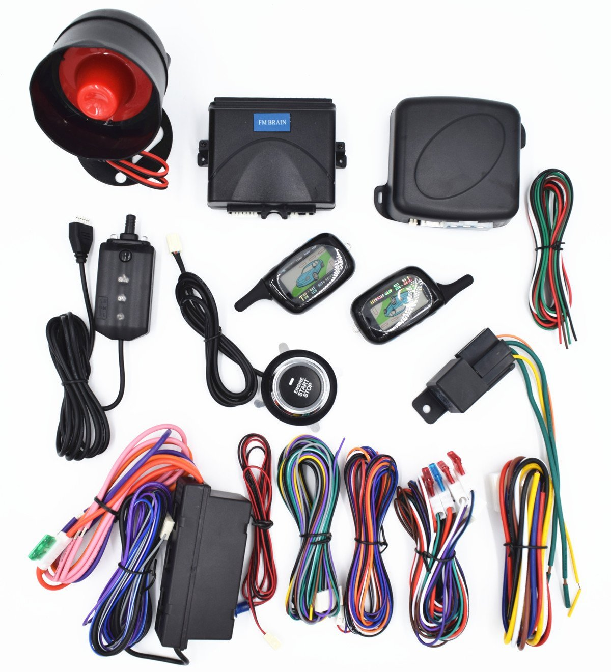 CarBest Vehicle Security Paging Car Alarm 2 Way LCD Sensor Remote Engine Start System Kit Automatic | One Button Engine Start System | Car Burglar Alarm System