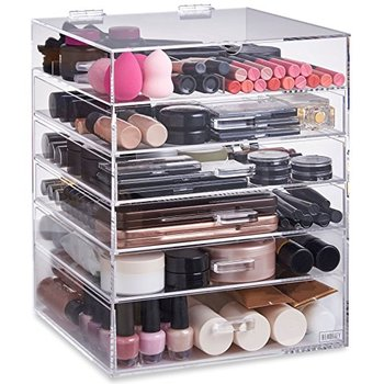 Factory Price Large 6 Tier Clear Cosmetics Cube Organizer Makeup Acrylic Drawer Organizer with 5 Drawers Upper Compartment