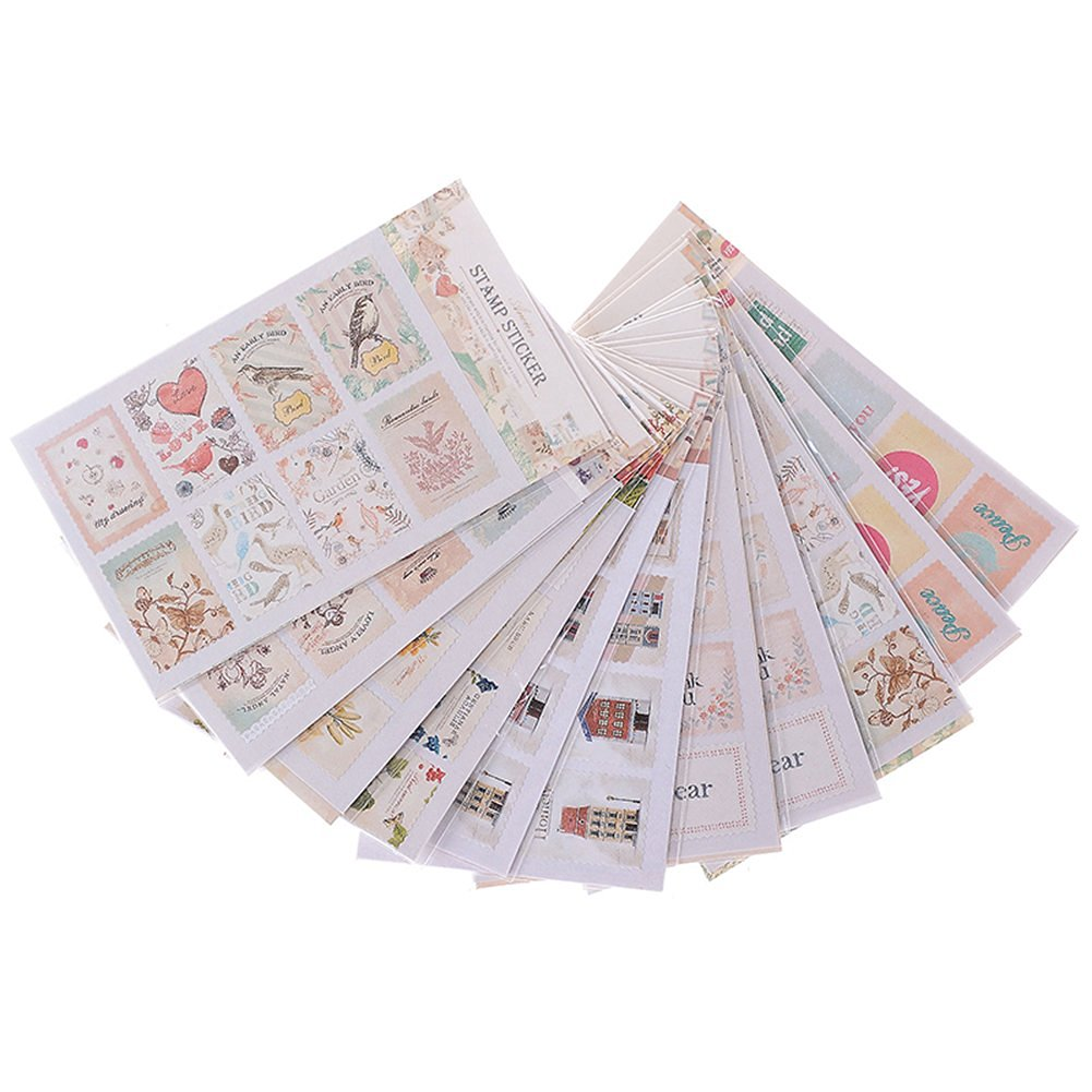 Tingxuan Stamps Stickers Scrapbook Note Paper Retro Tower Flower Decor DIY New
