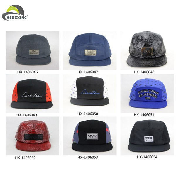 Hemp 5 Panel Fashion Leather Strap Back Hats With Metal Buckle