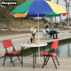 stackable 3feet white/black afternoon tea patio bistro set with umbrella hole