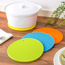 Thicken round silicon mat honeycomb design pot holder 18CM