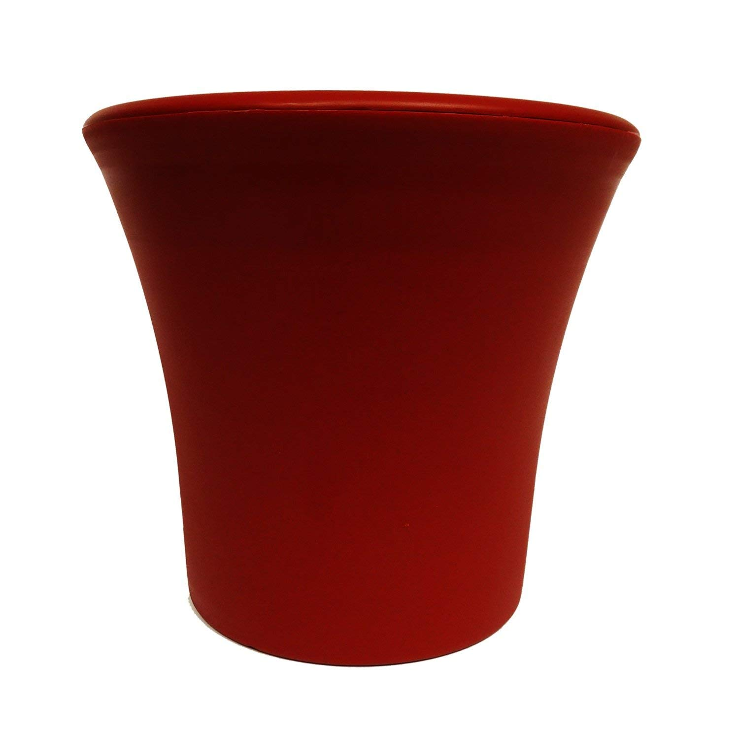 Misco Blossom Collection Modern Round Self-Watering Planter, 6-Inch Diameter, Red Sedona