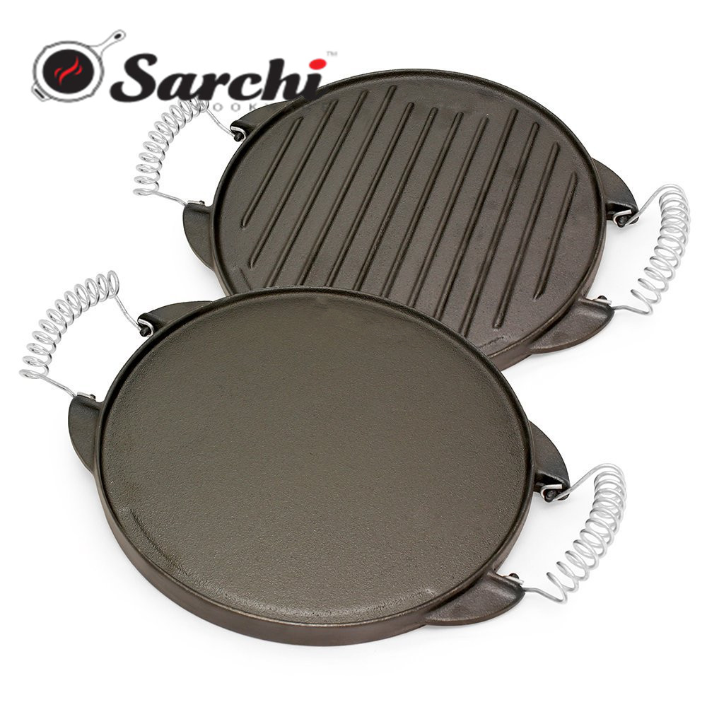 Reversible Cast Iron Round Griddle with Removable Cool-Touch Handles