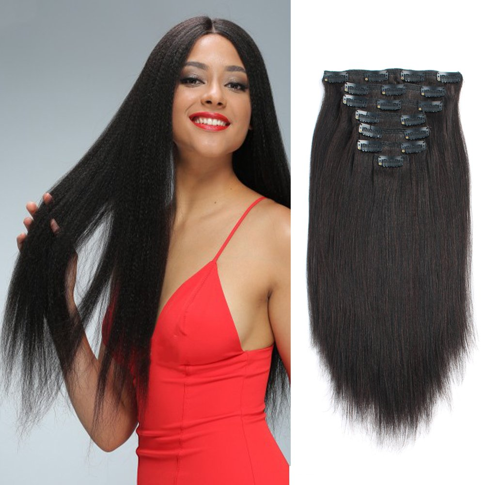 Sassina Italian Light Yaki Straight Clip in Extensions 100% Remy Human Hair Double Wefts 8A Grade For Fashion Black Women 120 Grams 7 Pieces With 17 Clips, YS 12 Inch