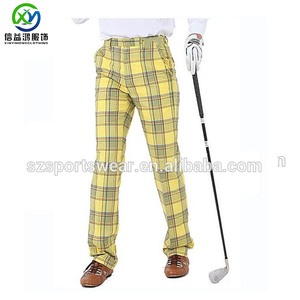 OEM Designed Polyester Spandex Sublimation Yellow Plaids Golf Trousers