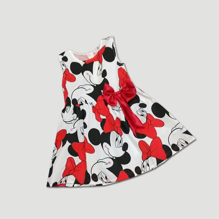 31fe3cb96376 2019 Wholesale Gaun Summer Girls Dress Tutu Princess Baby Mickey ...