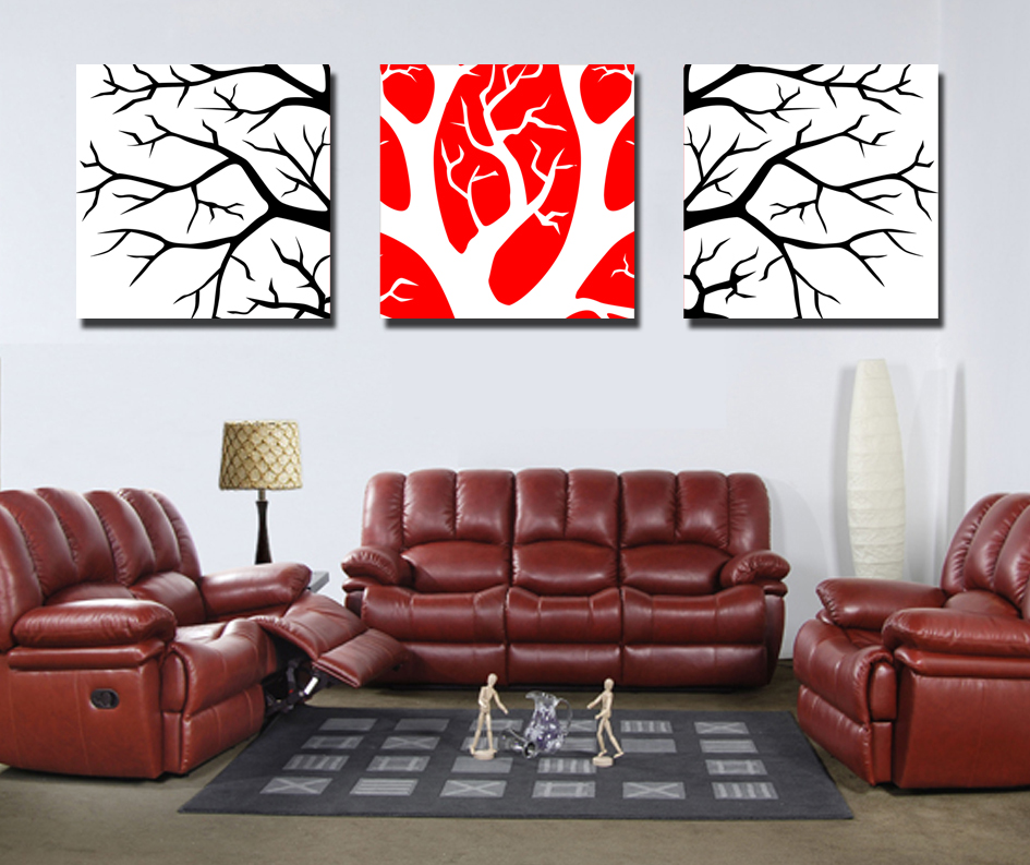 Wall Decoration Painting Model Abstract Group High Quality Black White And Red Oil Painting