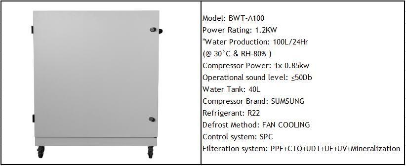 BWT-100 AQUAOSMO atmospheric water generator air water machine