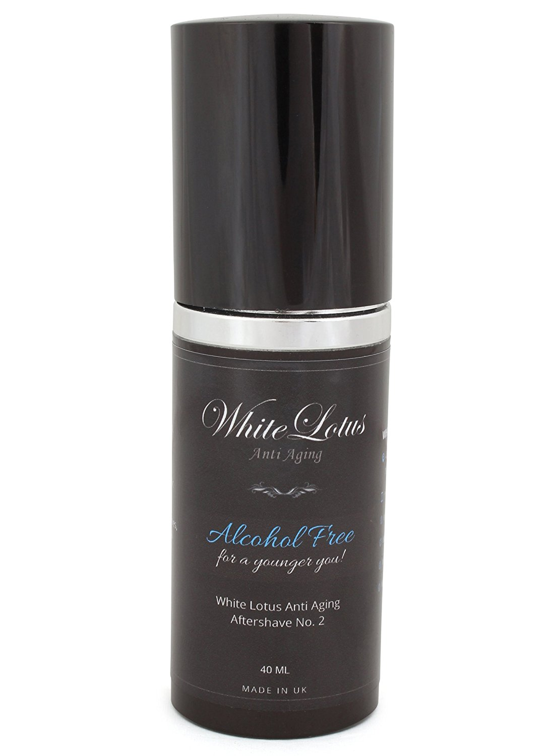 Alcohol Free Aftershave For Men- All Natural Aftershave Lotion No.2 by White Lotus Anti Aging. Natural Alcohol Free Cologne of Attar Oil- Less Dry Skin For Less Wrinkles, Redness & Soreness- 40mL