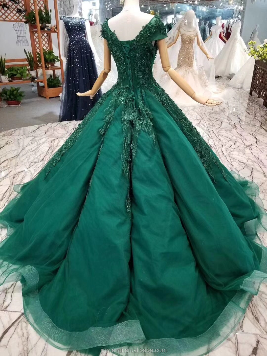 Hiqh Quality Embroidery Lace Emerald Green Evening Dresses Ruched Skirt Ball Gown Corset Long Prom Gown