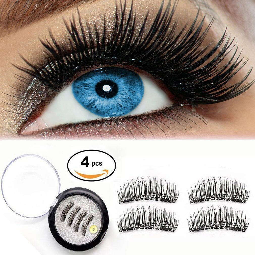 a266e31d52f Get Quotations · Magnetic Eyelashes Dual Magnetic False Eyelashes 3D Reusable  Fake Magnet Eyelashes, No Glue 0.2MM