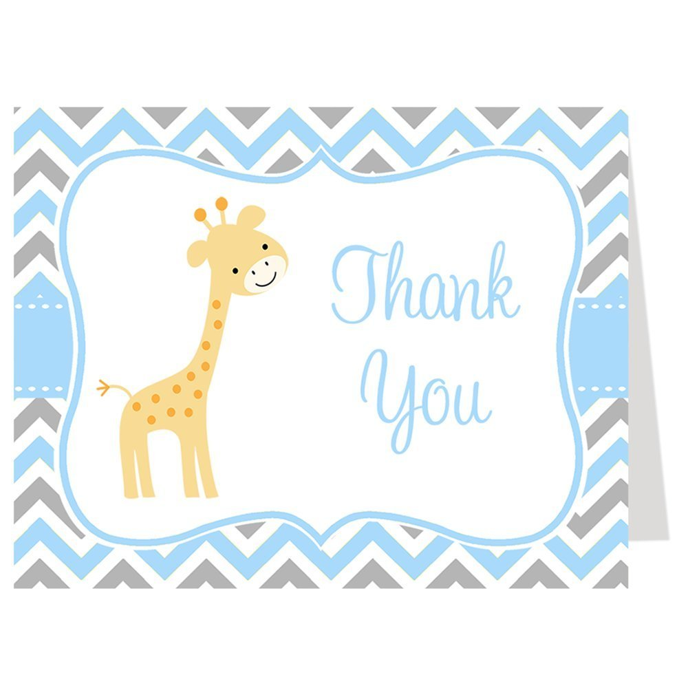 chevron giraffe baby shower thank you cards chevron giraffe blue gray boy baby shower set of 50 printed folding thank you notes with white envelopes