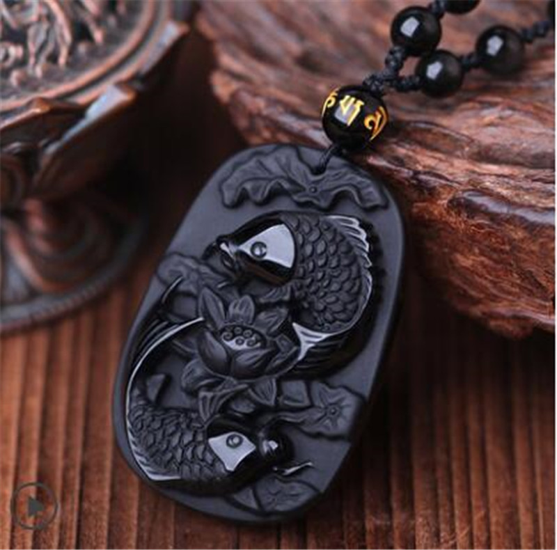 Natural Black Obsidian Pendant obsidian Fine carving Obsidian two fish and lotus black Obsdian pendant men's jewelry