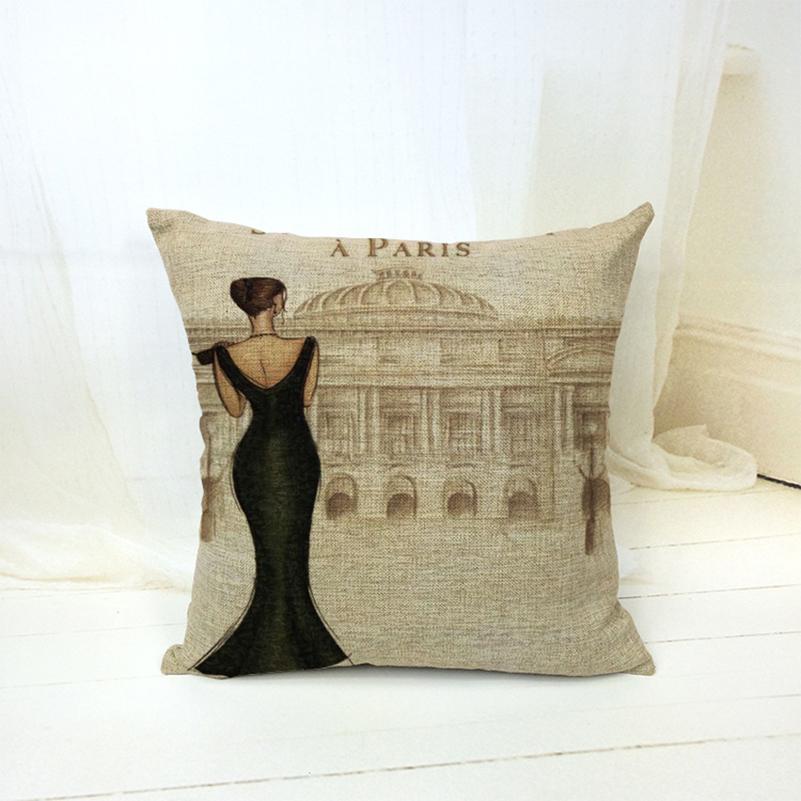 18 X 18 Inch Retro Vintage Beautiful Girl Decorative Throw Pillows Home Decor Cushion Coussin Cojines Scandinavian Pouf Cuscini