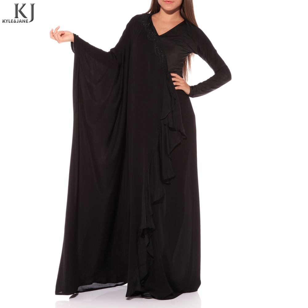 Arabic butterfly latest style long sleeve black models dubai fabric muslim dress designs abaya for muslim women