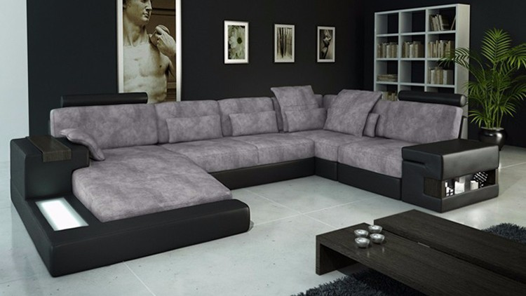 Low Price Modern Lamps Living Room Furniture 5 Seater Sofa Set Elegant Chaise Lounge U Shape