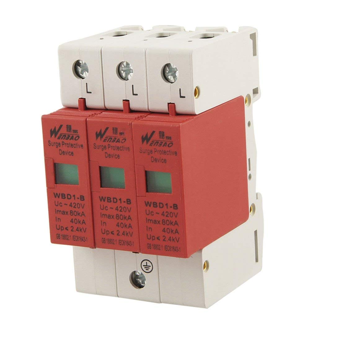 Aexit AC 420V Power Protection 80KA Max Current 40KA 3P Din Rail Mount Surge Protection Surge Protectors Device Arrester