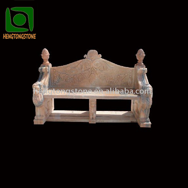 Natural Marble Bench with Lion Head Design