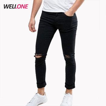precio limitado 50% rebajado busca lo último España Skinny 95% Algodón 5% Spandex De Moda Rotos De Lejía Mezclar Tamaños  Streetwear Rodilla Cremallera Negro Roto Pantalones Vaqueros De Hombre - ...