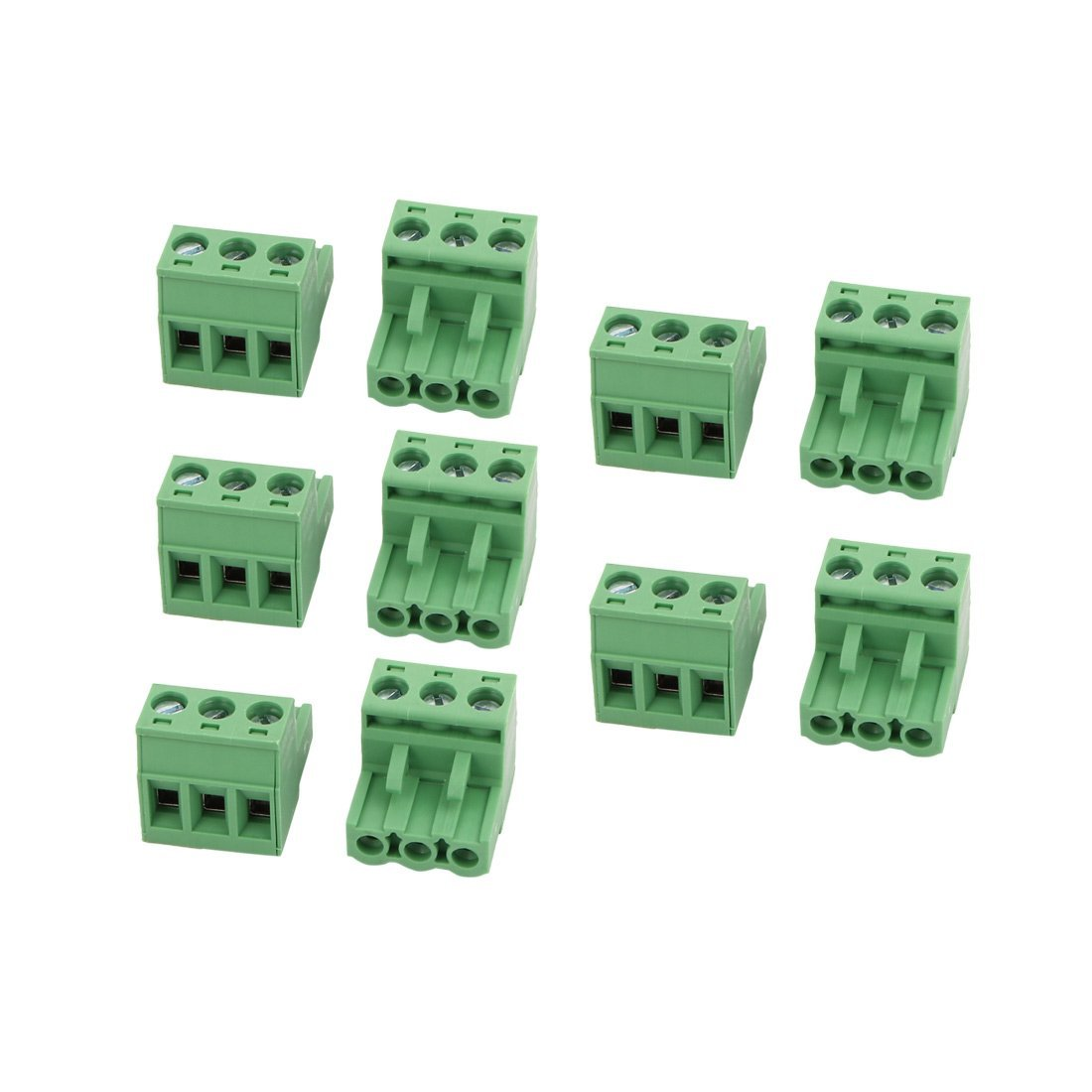 uxcell 10Pcs AC 300V 15A 5.08mm Pitch 3P Terminal Block Wire Connection for PCB Mounting