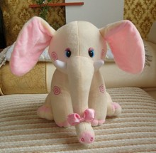 Cute Plush Colorful Elephant Soft Stuffed Wild Custom Animal Toy With Big Ears,Pink Blue Grey