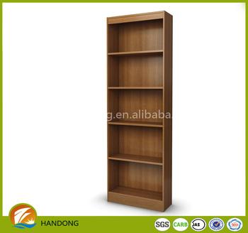 Large Tall Narrow 5 Shelf Dark Wood Vertical Corner Bookshelf