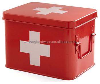 Retro Enamel First Aid Kit/medical Tin Box - Buy Galvanized Emergency  Kit,Iron First Aid Box,Metal Medicine Storage Box Product on Alibaba com