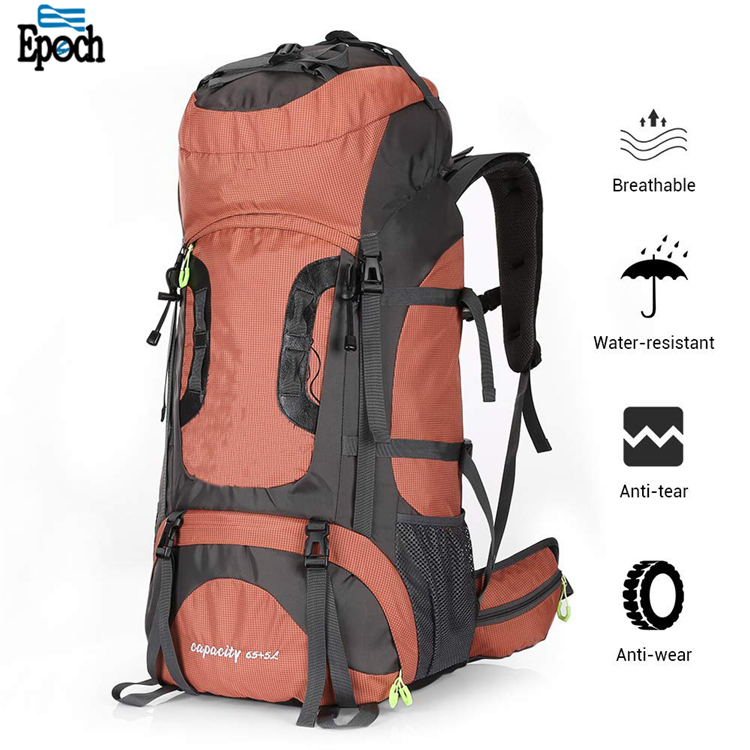 Recycling material outdoor travel Mountain climbing 80L hiking backpack bag with rain cover