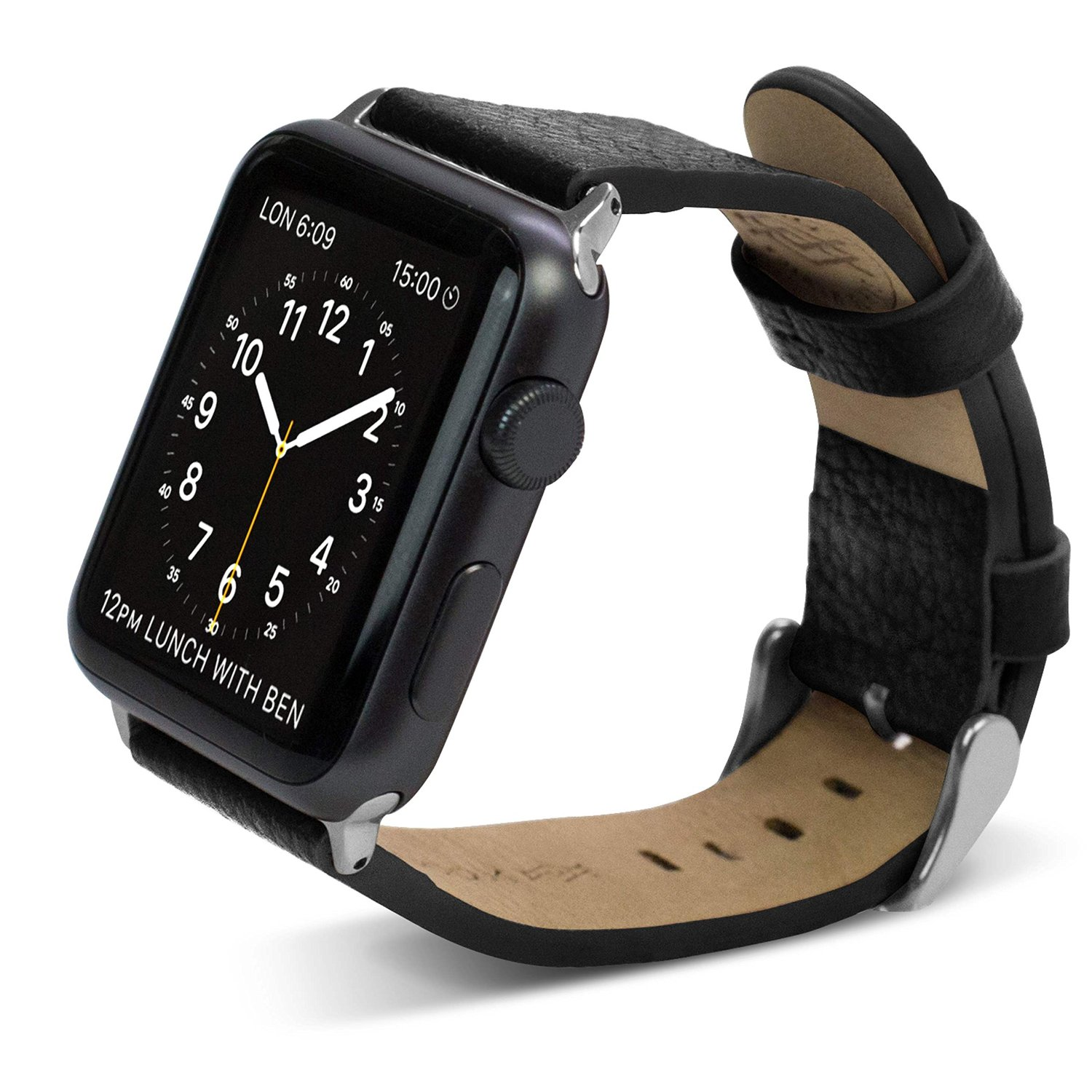 42mm Apple Watch Repalcement Band, X-Doria Lux Band, Genuine Leather, Black Leather for Apple Watch All Models
