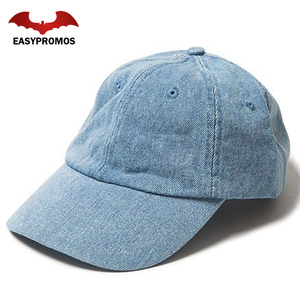 Custom 6 Panel Hat Plain Distressed Denim Dad Cap Baseball Cap In Light Indigo
