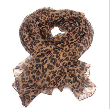 Beach fashion leopard printed women long talma chiffon scarf