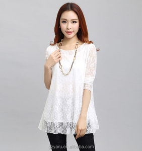 autumn new fashion long sleeve round neck women lace casual brand tunic top 2017 OEM/ODM guangzhou manufacture