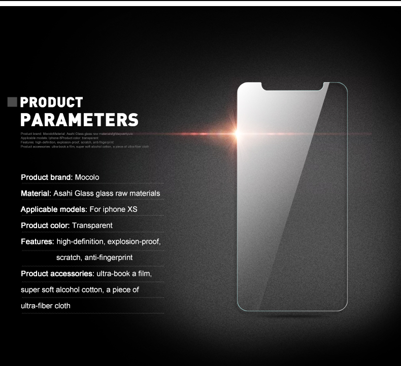 9H tempered glass raw material 2.5D edge coverage clear screen protector For iphone XS