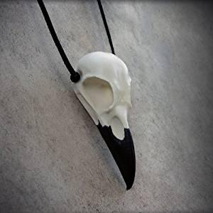 Raven Bird Skull Necklace Cast Resin - Bird Skull Crow Gothic Taxidermy Corvid Gothic Fashion Jewelry