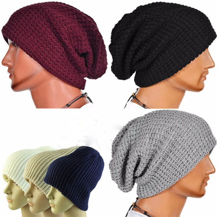 Winter Casual Cotton Knit Hats For Women Men Baggy Beanie Hat Crochet  Slouchy Oversized Ski Cap Warm Skullies Toucas Gorros- 4de5f761ada3