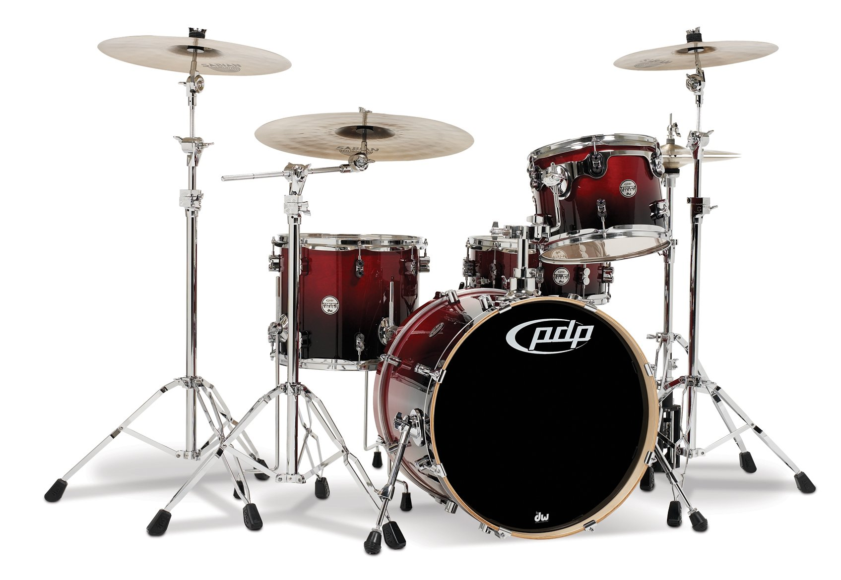 Pacific Drums PDCB2014CB Concept Series 4-Piece Drum Set - Cherry to Black Fade