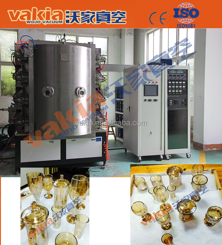 Glass Cups PVD Plating Machine / Crystal Cups Vacuum Coating Equipment / Gold Color by Ion Plating on Crystal
