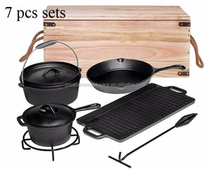 Hot selling Cooking sets 7 pieces cast iron cookware set camping cast iron cookware