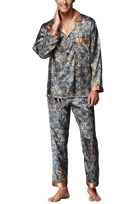 ca213307ab1f Get Quotations · Dolamen Mens Pyjamas Set Satin, Mens Silky Spring Summer  Pyjamas Nightwear