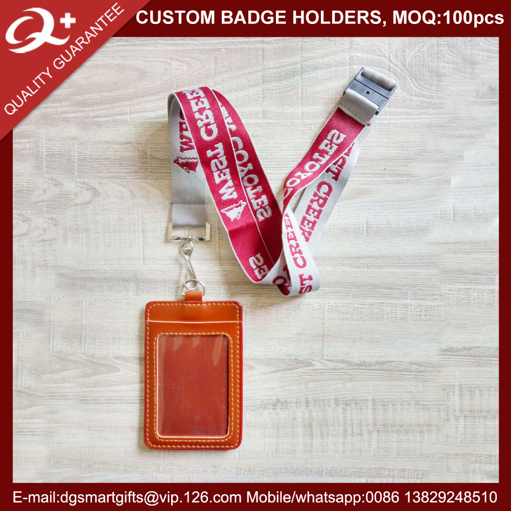 Custom Polyester Id Holder Woven Logo Lanyard With Pu Card - Buy ...
