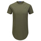Custom Curved Hem T shirt Offer Drop Shipping Army Green Drop Tail Scallop T Shirt With Side Zipper