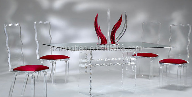 Exceptionnel Elegant Acrylic Glass Dining Room Table Set And Chairs
