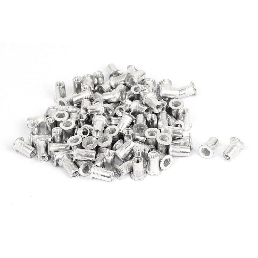 TOOGOO(R) M5 Aluminium Threaded Rivnuts Flat Head Rivet Nuts Nutserts 100pcs