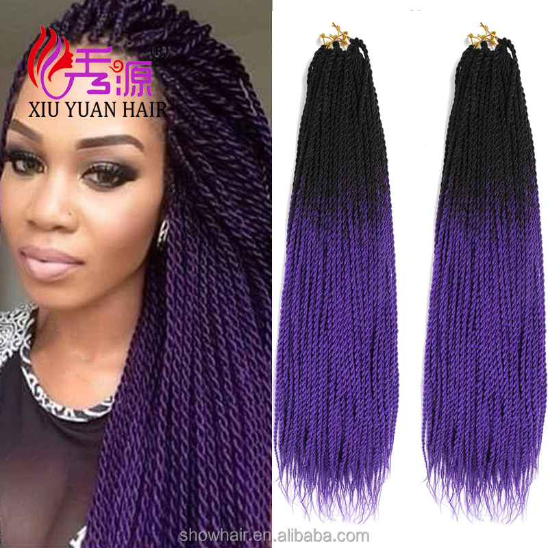 <strong>Black</strong>/purple two tone braiding hair ombre color marley crochet hair synthetic senegal twist braids