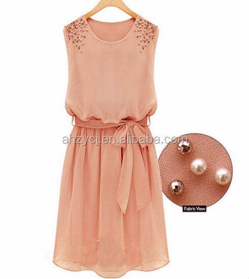 ee74b10f655c3 تصميم أزياء السيدات بلا أكمام ملابس الغربية اللؤلؤ الأنيق زائد حجم فستان من  الشيفون النساء