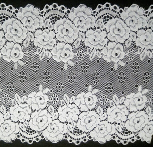 Golden Knit 19cm Width Wholesale Lace Trim Flat Jacquacd Lace Nylon and Spandex Lace Fabric 86556#