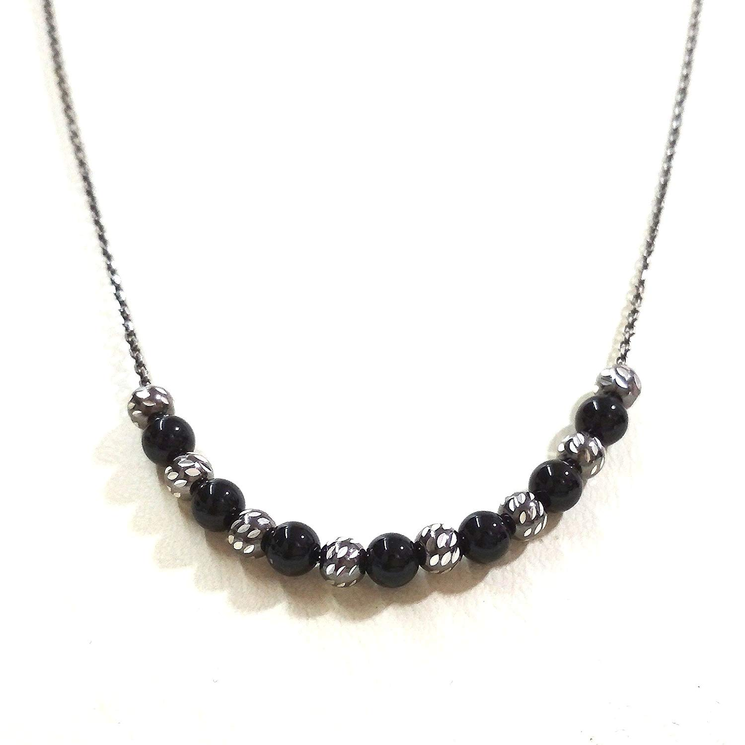 Black Sterling Silver 925 Anchor Cable Chain with 4mm ONYX and Silver Beads NECKLACE - Handmade!