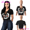 Sexy Cross Tied Front Custom Printed Cropped T Shirts Womens Crop Tops